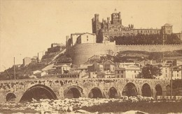 Beziers Vue Depuis Le Pont Vieux Herault France Ancienne CDV Photo 1865 - Old (before 1900)
