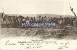 7943 ARGENTINA PATAGONIA AUSTRAL COSTUMES NATIVE INDIOS TELHUELCHES EJECUTANDO UNA DANZA GUERRERA BREAK POSTAL POSTCARD - Argentina