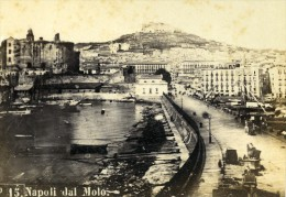Italie Panorama De Naples Vue Du Mole Ancienne CDV Photo Rive 1870 - Photographs
