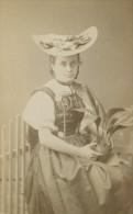 Paysanne Lucerne Suisse Costume Traditionnel Atelier Studio T. Richard Sohn CDV Photo Ancienne 1880