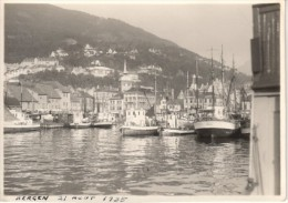 Bergen Harbour Boats Ships Norway Old Photo 1935 - Photos