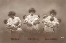 CPA COLORISEE FANTAISIE - Réjouie, Résignée, Désespérée - Naissance Un Enfant, Jumeaux Ou Triplés - ENCH - - Vrouwen