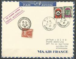 LETTRE ALGERIE  AVEC N� 260 / 262 ET TAXE FRANCE