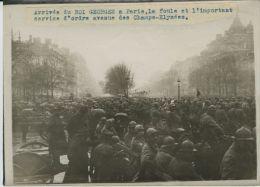 King Georges V Visit To Paris Crowd Old Photo 1918