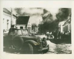 WWII German Blitzers Blazing Town Russia WW2 Photo 1941 - War, Military