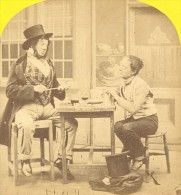 Allegory Poor & Rich Lunch France Old Stereo Photo 1865 - Stereoscopic