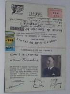 LICENCE De CAMPEUR N° 14894 ( T.C.F. 1940 ) UFAC 1939 - TOURING CLUB DE FRANCE ( Details Zie Foto ) !! - Titres De Transport