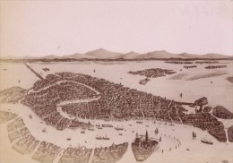 Italy Venezia Drawing Panorama Old Photo 1890 - Photographs