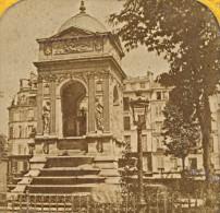 France Paris Place Fountain Stereo Tissue Photo 1860 - Photos Stéréoscopiques