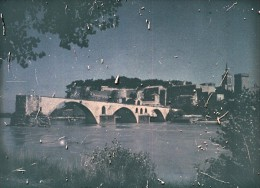 France Pont D' Avignon Bridge Autochrome Photo 1925 - Glass Slides