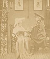 Scene Humoristique France Ancienne Photo Stereo Amateur 1870 - Stereoscopic