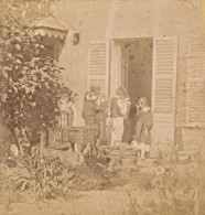 Scene Famille France Ancienne Photo Stereo Amateur 1870