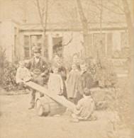 Tape-cul Scene Humoristique France Ancienne Photo Stereo Amateur 1870 - Stereoscopic