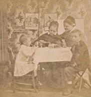 Enfants Scene Humoristique France Ancienne Photo Stereo Amateur 1870 - Stereoscopic
