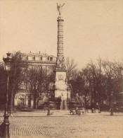 Place Du Chatelet Paris France Ancienne Photo Stereo 1870 - Photos Stéréoscopiques