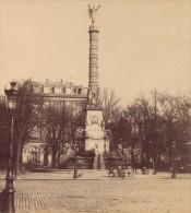 Place Du Chatelet Paris France Ancienne Photo Stereo 1870 - Stereoscopio