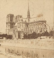 Eglise Notre Dame Paris France Ancienne Photo Stereo 1870 - Stereoscopic