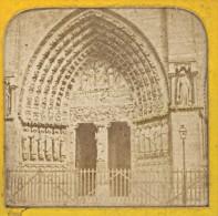 Eglise Notre Dame Paris France Stereo Photo Transparente Nuit Et Jour 1870 - Stereoscopic