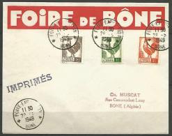 LETTRE ALGERIE FOIRE DE BONE AVEC N� 219 / 220 / 221