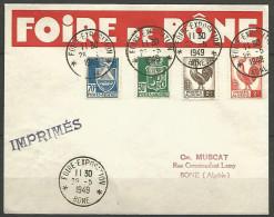 LETTRE ALGERIE FOIRE DE BONE AVEC N� 185 / 188 / 220 / 221