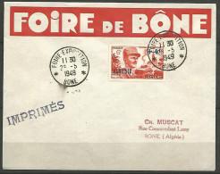 LETTRE ALGERIE FOIRE DE BONE AVEC N� 272