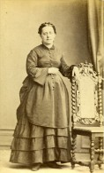 Femme Costume Mode Paris France Ancienne Photo CDV Anonyme 1870 - Photos