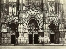 France Tours Cathedrale Saint Gatien Portail Les Trois Portes Ancienne Photo Bisson 1857 - Photographs