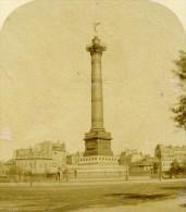 France Paris Place De La Bastille Ancienne Demi Stereo Photo 1860 - Old (before 1900)