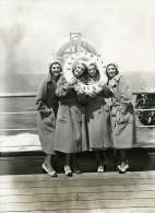 Paquebot Ile De France Cinema Actrices Les Soeurs Gale Ancienne Photo 1931 - Boats