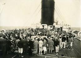 Paquebot Ile De France Jeux Sur Le Pont Course De Chevaux Ancienne Photo 1930 - Boats