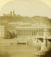 Palais De Justice & Fourvieres Lyon France Ancienne Photo Stereo 1858 - Stereoscopic