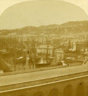 Port De Genes Italie Ancienne Stereo Photo Alexis Gaudin 1859 - Photos Stéréoscopiques