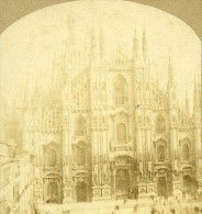 Il Duomo Cathedrale Milan Italie Ancienne Photo Stereo Ca1859 - Stereoscopic