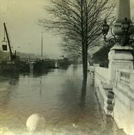 Quai De La Conference Inondations Paris France Ancienne Photo Stereo 1910 - Stereoscopic