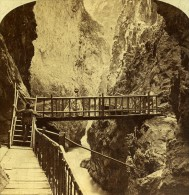 Gorges Du Trient Martigny Suisse Ancienne Stereo Photo England 1865 - Stereoscopic