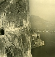 Italie Lac De Garde Ponalestrasse Riva Ancienne Stereo Photo PG 1900 - Stereoscopic