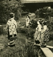 Japon Geishas Au Jardin Ancienne Stereo Photo NPG 1900 - Stereoscopic