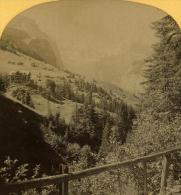 Alpes Suisse Wengen Kurhaus & Breithorn Ancienne Stereo Photo Gabler 1885 - Stereoscopic