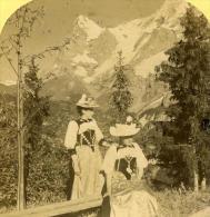 Alpes Suisse Murren Costume Feminin Bernois Ancienne Stereo Photo Gabler 1885 - Stereoscopic