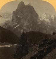 Alpes Suisse Rosenlaui & Wetterhorn Ancienne Stereo Photo Gabler 1885 - Stereoscopic