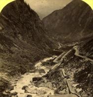 Alpes Suisse Route Du St Gotthard Ancienne Stereo Photo Gabler 1885 - Stereoscopic
