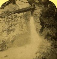 Alpes Suisse Lauterbrunnen Chute De Trummel Ancienne Stereo Photo Gabler 1885 - Stereoscopic