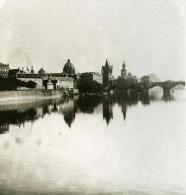 Autriche Hongrie Prague Moldau Panorama Ancienne Photo Stereo NPG 1900 - Stereoscopic