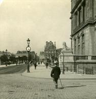 France Paris Instantanée Rue Du Louvre Ancienne Photo Stereo NPG 1900 - Stereoscopic