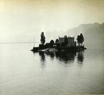 Suisse Alpes Lac Leman Ile Des Mouettes Possemiers Ancienne Stereo Photo 1910 - Stereoscopic