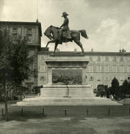 Italie Rome Monument Carlo Alberto Ancienne Photo Stereo NPG 1900 - Stereoscopic
