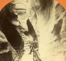 Suisse Gorges De L Aar Ancienne Stereo Photo Jullien 1885 - Stereoscopic