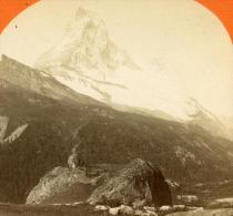 Suisse Mont Cervin & Le Hornli Ancienne Stereo Photo Jullien 1885 - Stereoscopic