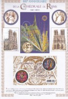 Encart  Double Avec Bloc Neuf De 2 Timbres Des 800 Ans Cathédrale De Reims. Dessins De R. Irolla - France