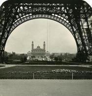 France Paris Tour Eiffel & Trocadero Ancienne NPG Stereo Photo 1900 - Stereoscopic